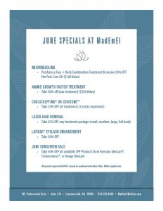 Skin care Med Spa Specials For June